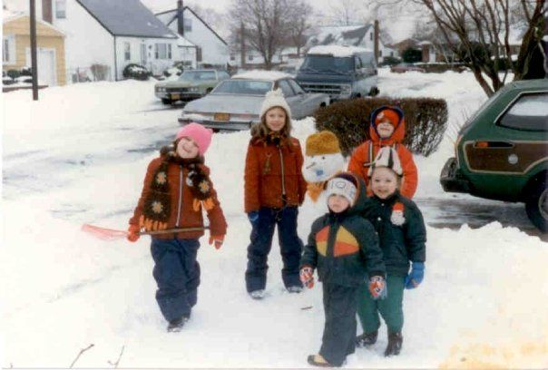 Shoveling snow after the blizzard with my old gang in Hickville - 1983