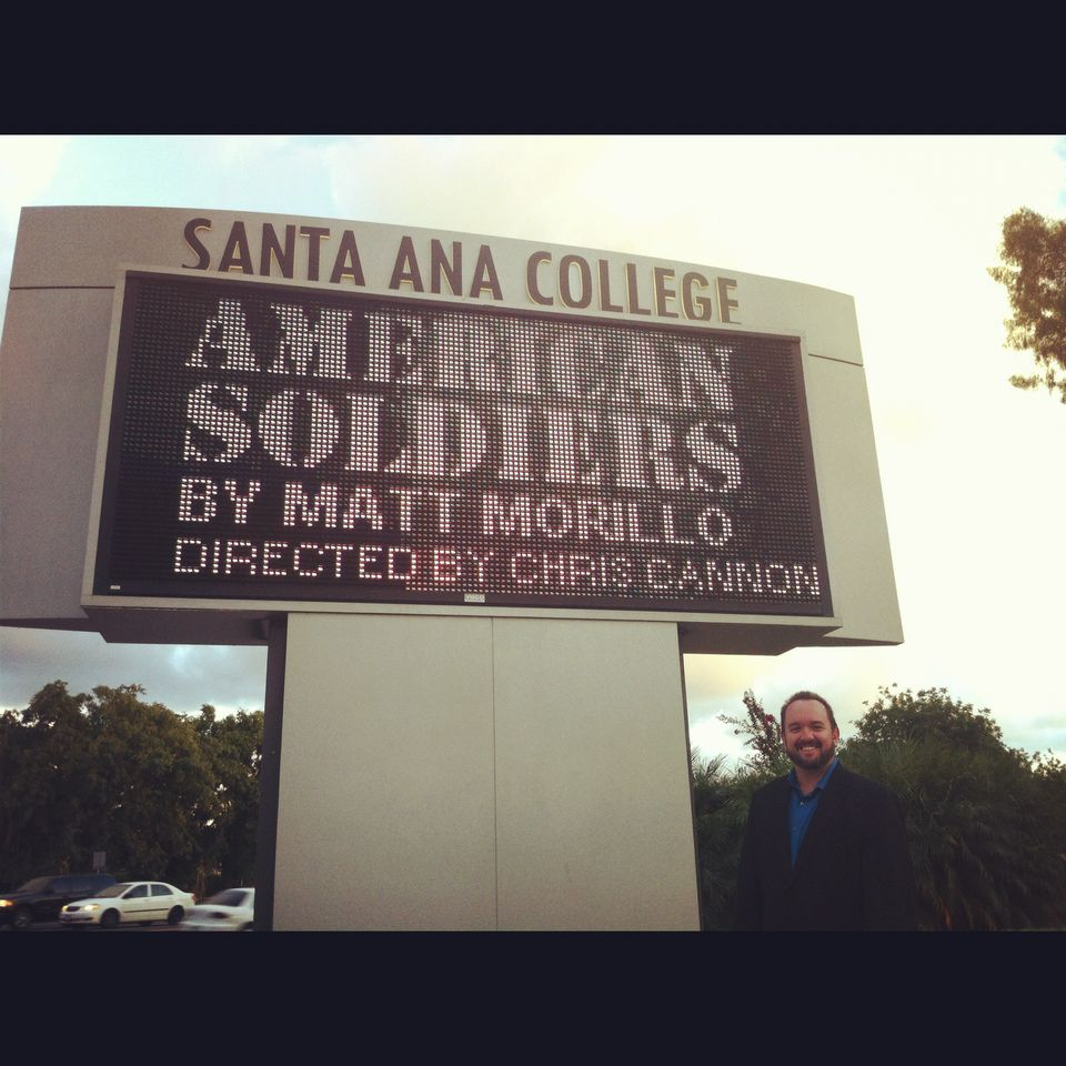Standing in front of the marquee at Santa Ana College - 2012