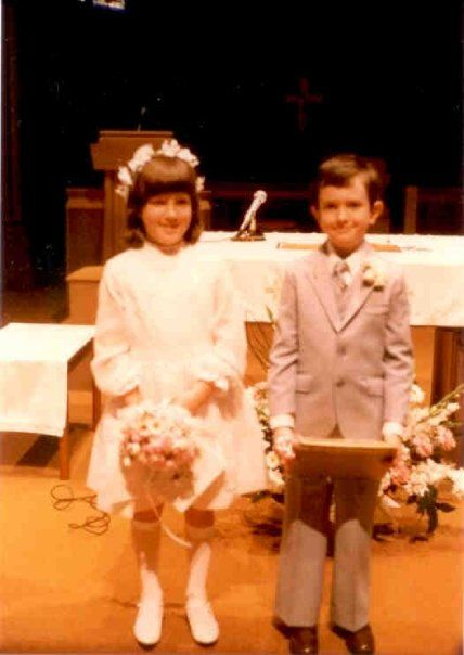 Suzanne and me at our first Communion - 1984