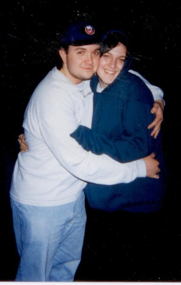 Suzanne and me in my LaserLand uniform - 1998