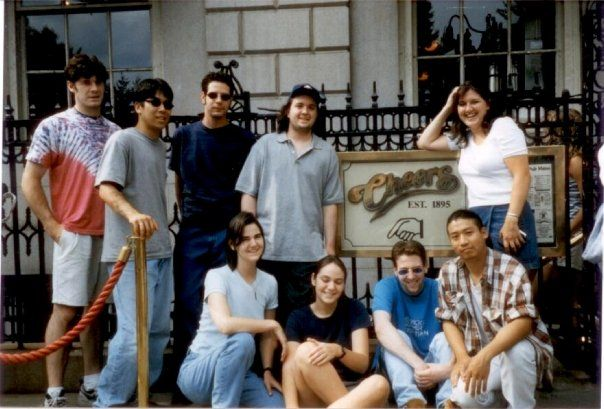 Visiting Cheers with the Hicksville crew - 1998